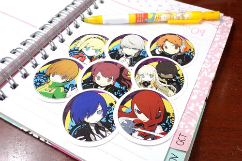 Set De 8 Stickers Circulares De Anime - Persona