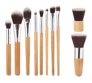 11 Brochas - Set De Brochas Profesionales Bambú