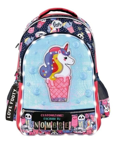 Mochila Led Unicornio 3d Personalizada. 18 Pulgadas