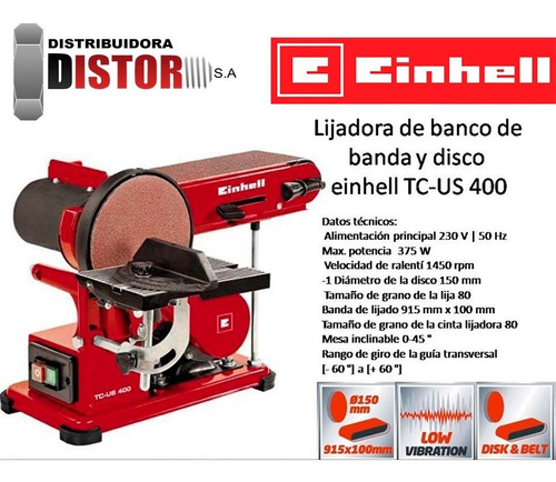 Lijadora De Banda De Banco Combinada Einhell Tc-us 400 375 W