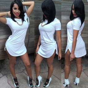 Roupa Vestido Curto Long Line Liso, Swag Basico Liso Casual
