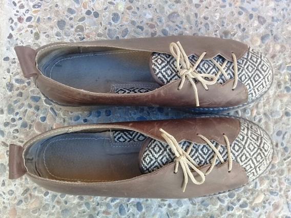 Zapatos De Cuero Y Telar De Mujer Talle 38