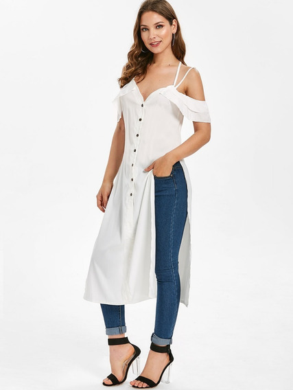 Side Slit Ruffle Button Senhora Camisa Blusa Vestido