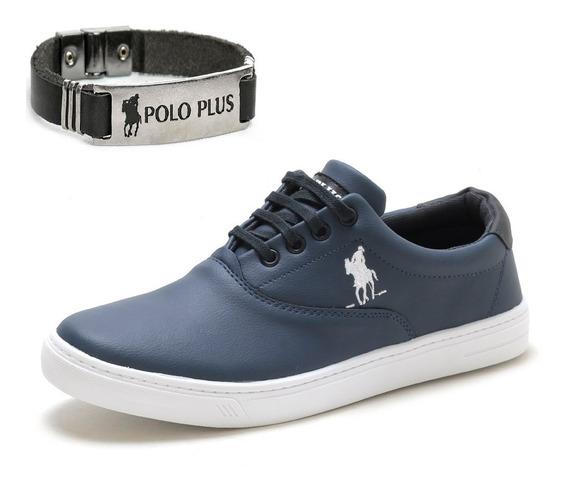 Tênis Masculino Original Polo Plus + Pulseira Couro Envio Já
