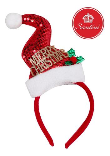 Vincha Con Gorro Navidad Rojo