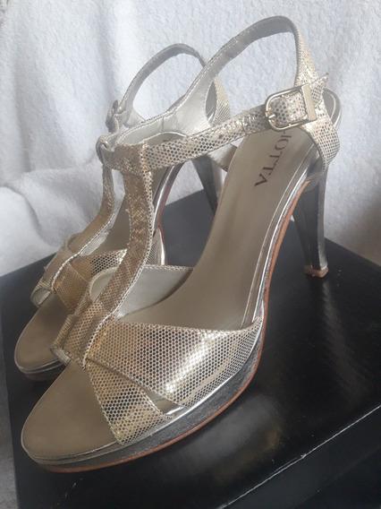 Sandalias Liotta Doradas Zapatos Mujer Nro38