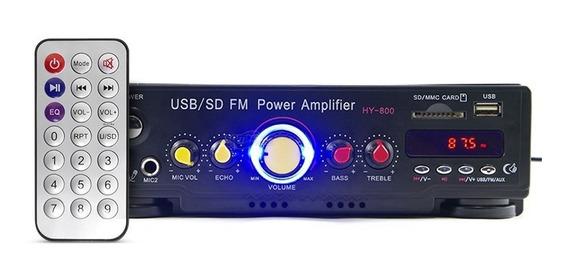 Amplificador Áudio Receiver Bluetooth Mic Som Ambiente Usb