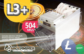 Bitcoin L3+ - 504 Mh/s - Antminer Bitmain Argenminer