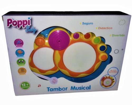 Imagen 1 de 2 de Tambor Musical Interactivo Música Luces Infantil Poppi Baby