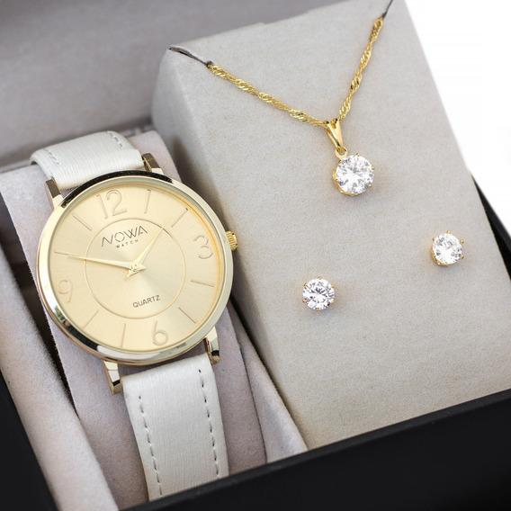 Relógio Feminino Dourado Couro Kit Bijuteria Pronta Entrega