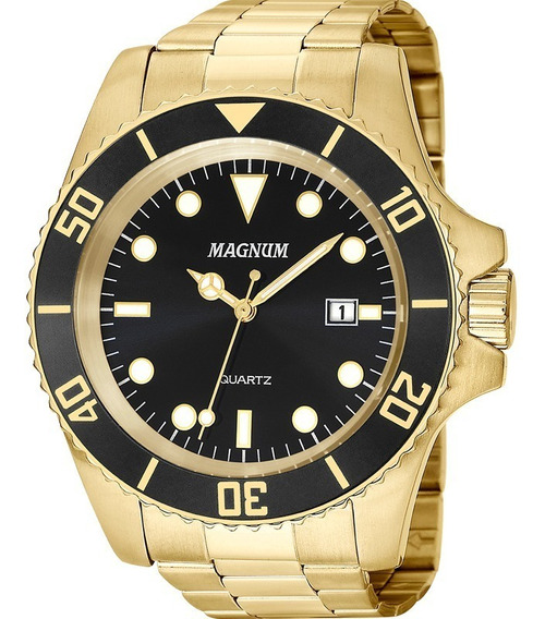 Relógio Masculino Magnum Dourado Aço Prova D´agua Original