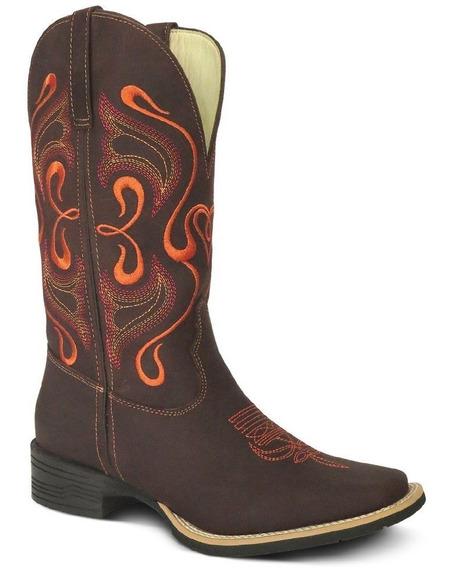 Bota Country Texana Couro Crazy Horse Feminin Silverado Cafe