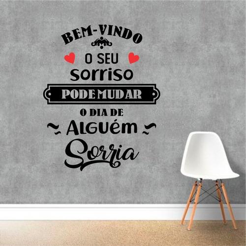 Adesivo Decorativo Parede Bem-vindo Sorria ... 65x80cm