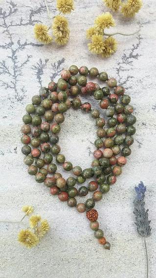 Japamala Pedras Naturais 8mm Unakita 108 Contas Prana Yoga