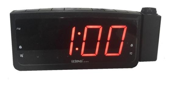 Relógio Rádio Despertador Lelong Le-672 Fm Usb E Projetor Hr