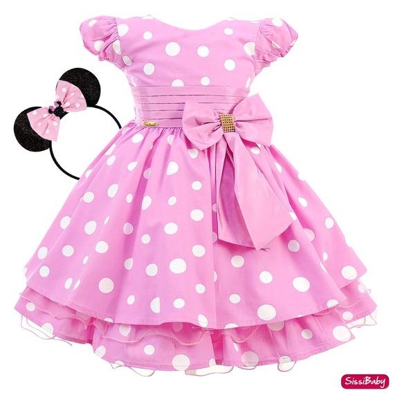 Vestido Infantil Festa Minnie Rosa Baby Princesa Tiara Luxo