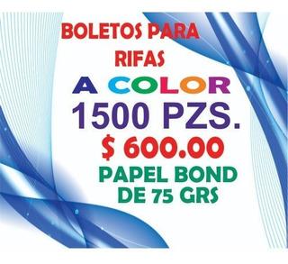 1500 Boletos Para Rifa O Recibos