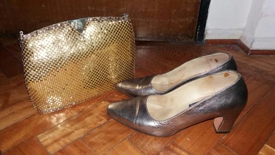 Lote De Zapatos De Fiesta Y Cartera De Señora