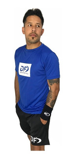 Remera Azul + Short Conjunto Deportivo Padel Tenis