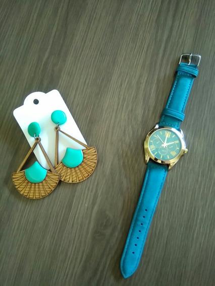 Relógio E Brinco Conjunto