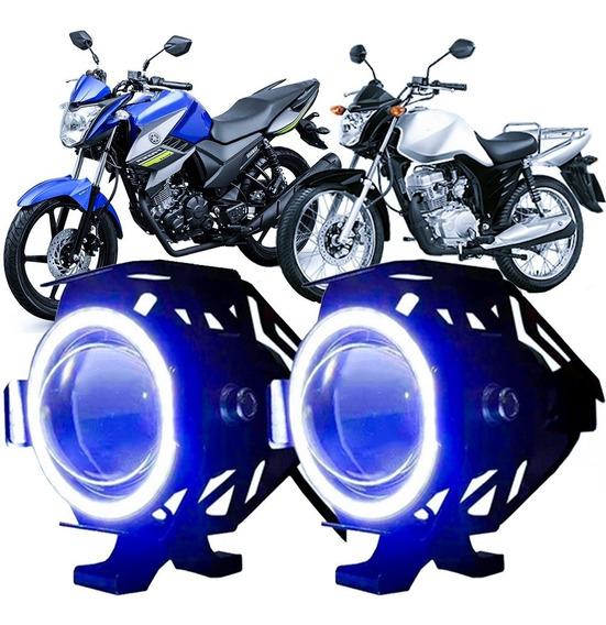 Kit Par Farol Milha Moto Led Angel Eyes 15w Strobo Com Plug