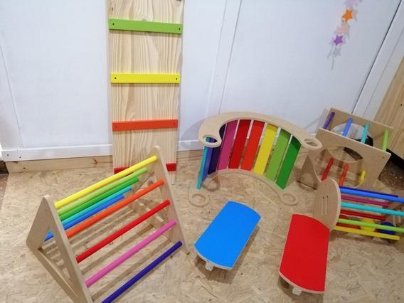 Moviliario Pikler 7 Elementos (plaza Montessori) Mdf Y Pino
