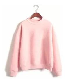 Blusa Moletom Liso Feminino Gola Redonda Fashion