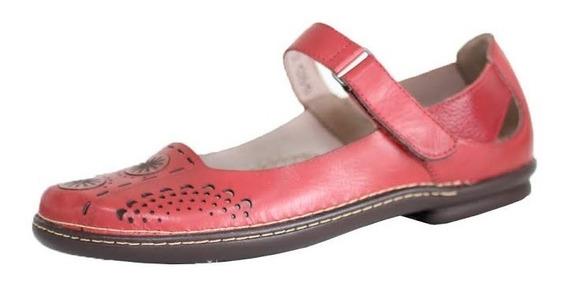 Sapato Boneca Retrô Vintage Couro Sapatilha Vermelho Am 0217