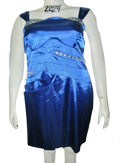 Vestido Azul De Gala Con Pedreria Talla 3x 40/42 Mex Trixxi