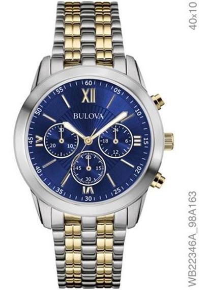 Relógio Bulova Masculino Bicolor Fundo Azul Wb22346a