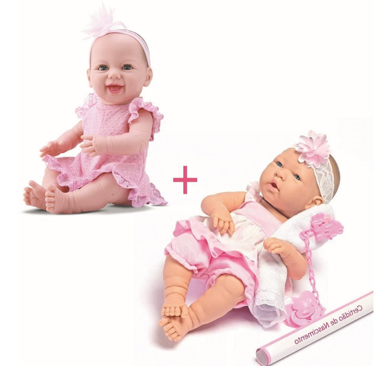 Kit 2 Bebê Boneca Menina Dengo E Ninos Estilo Reborn
