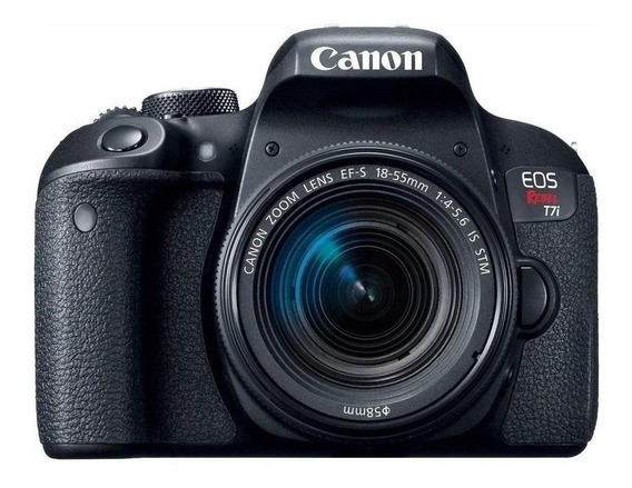 Canon EOS Rebel T7i 18-55mm f/3.5-5.6 IS STM Kit DSLR cor preto