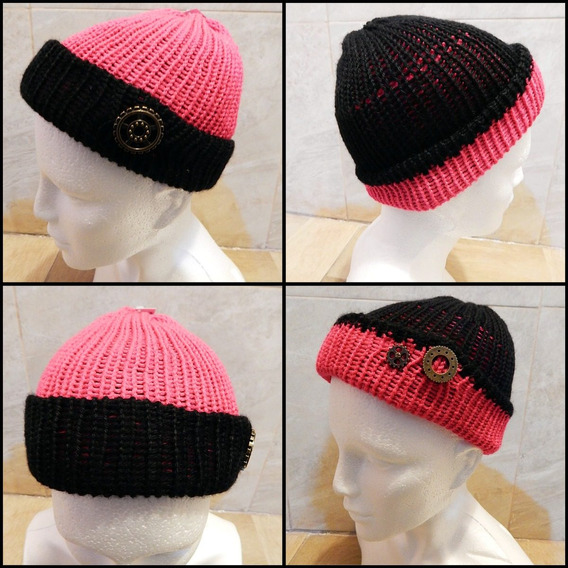 Gorro Doble Vista Tejido Rosa Negro Crochet Unisex Steampunk