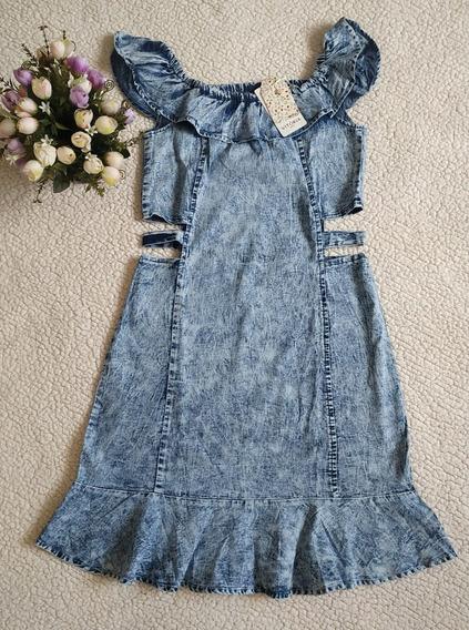Vestido Jeans Feminino Midi Sem Manga Com Detalhes Lateral