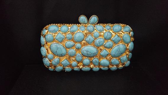 Bolsa Festa Mão Fina Luxo Clutch Premium Azul Turquesa