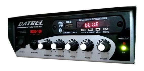 Mplificador Som Ambiente 2 Canais 100w Rms C/ Usb Fm Bluet