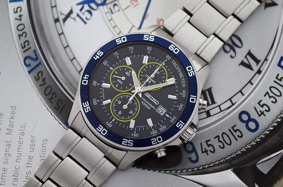 Lindo Seiko Chronograph Azul Date - 100m - 7t92-0kd0
