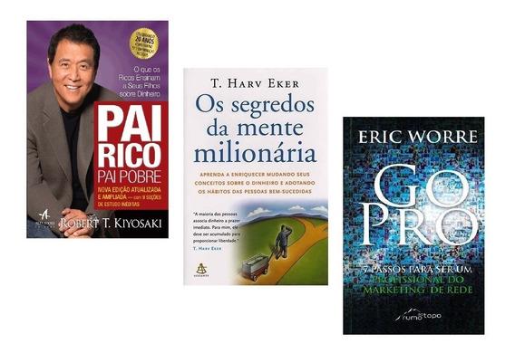 Livro Pai Rico + Segredos Mente Milionária + Go Pro #