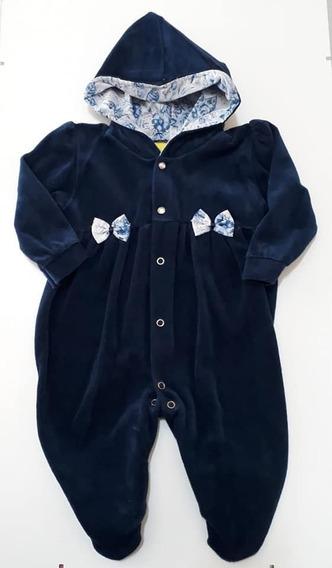 Macacão Bebê Menina Plush Com Capuz