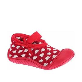 Meia Sapatilha Com Sola Pimpolho Infantil Vermelha 008236