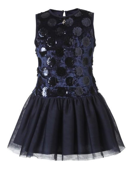 Vestido Niña De Fiesta- Lentejuelas Azul Con Falda De Tul Talla 4, 6, 8, 10, 12, 14 (importado- Nuevo Con Etiquetas)