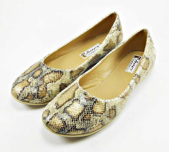 Zapato Chatita Baja Reptil Dama Mujer Moda