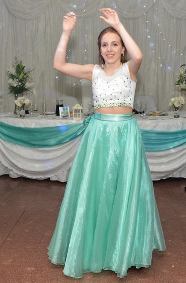 Vestido De 15 De 3 Piezas Verde Agua. Oportunidad!!!