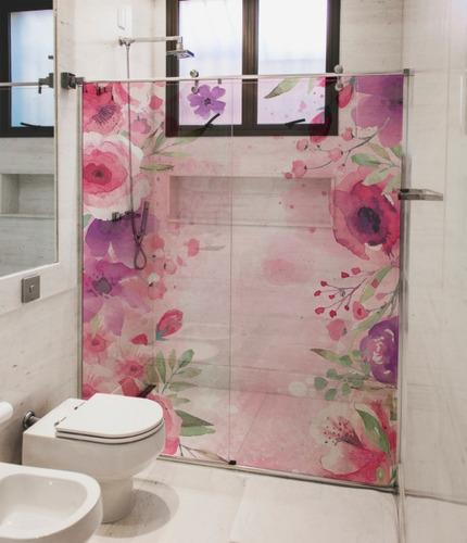 Adesivo Decorativo Box De Banheiro Floral Transparente - M²