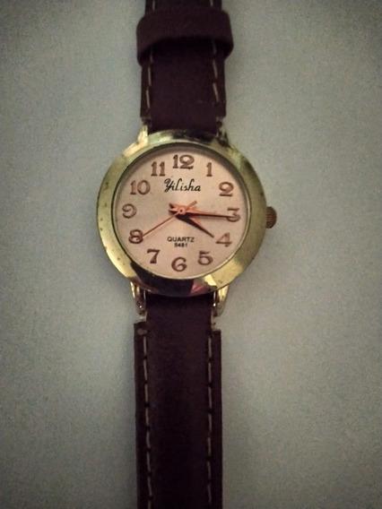 Relógio Feminino Dourado Pulseira De Couro Marrom