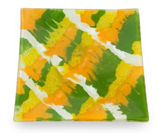 Plato Cuadrado Verde Y Naranja