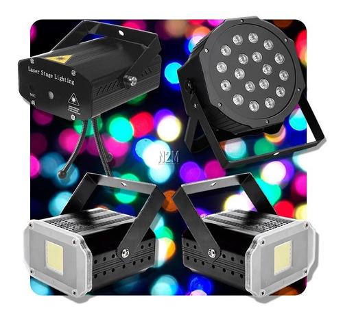 Combo Luces Dj Led Movil Proton 18 + Laser + 2 Flash
