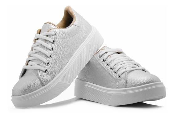 Zapato Zapatilla Mujer Blanca Sneaker Urbana Plataforma Moda