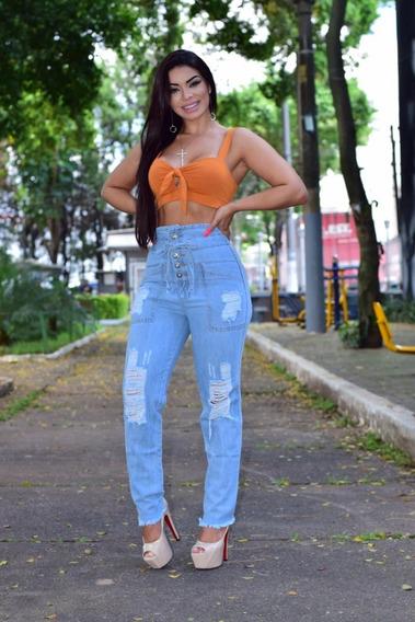 Calça Jeans Rasgada Cintura Alta S/lycra Veste Do 36 Ao 44