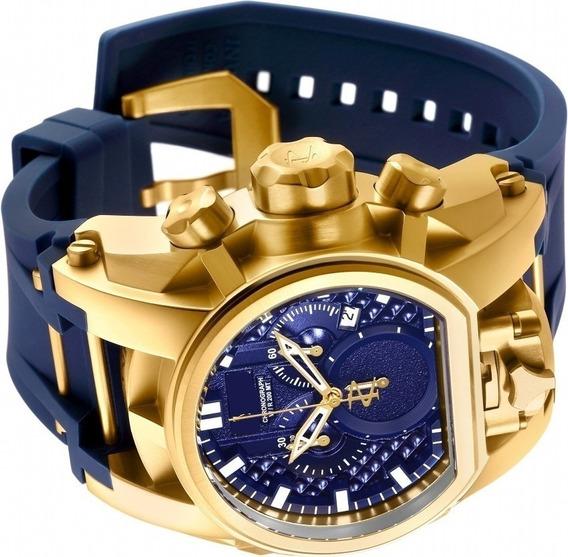 Relógio Masculino Pulseira Azul Borracha Luxo Dourado